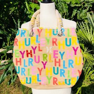 Colorful Hurley straw tote bag